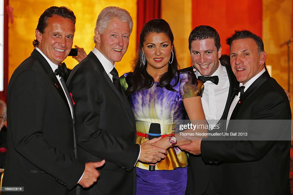 Thomas Koblmueller, <a gi-track='captionPersonalityLinkClicked' href=/galleries/search?phrase=Bill+Clinton&family=editorial&specificpeople=67203 ng-click='$event.stopPropagation()'>Bill Clinton</a>, <a gi-track='captionPersonalityLinkClicked' href=/galleries/search?phrase=Anna+Netrebko&family=editorial&specificpeople=732328 ng-click='$event.stopPropagation()'>Anna Netrebko</a>, Rafael Schwarz and Jim Ferraro attend the 'AIDS Solidarity Gala 2013' at Hofburg Vienna on May 25, 2013 in Vienna, Austria.