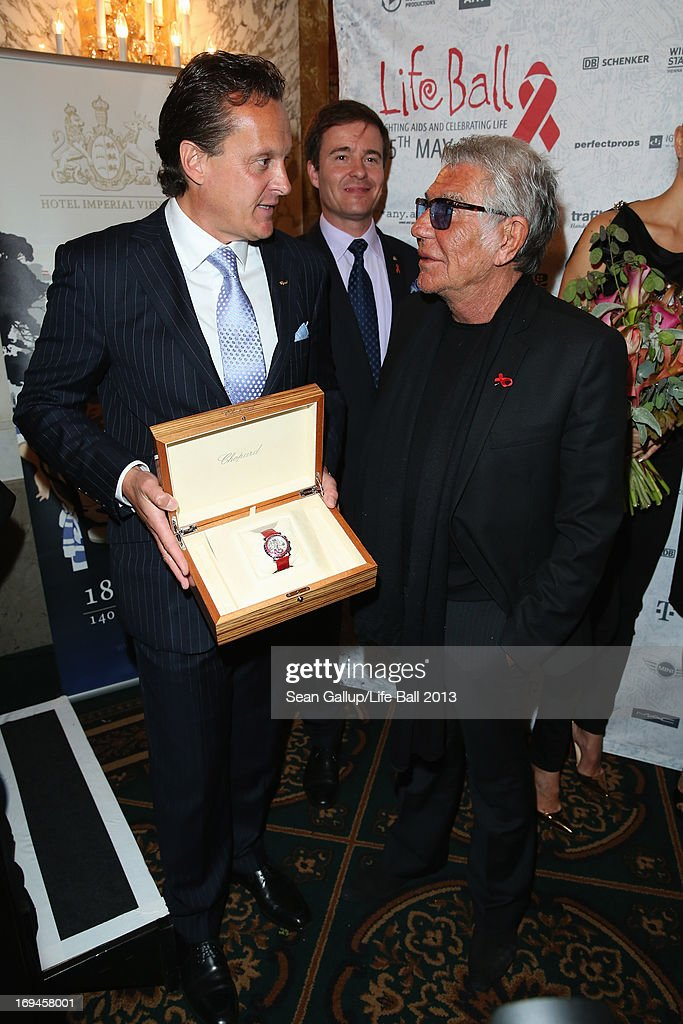 Thomas Koblmueller, Klaus Christandl and Roberto Cavalli attend the 'Life Ball 2013 - Press Conference' at Hotel Imperial Vienna on May 25, 2013 in Vienna, Austria.
