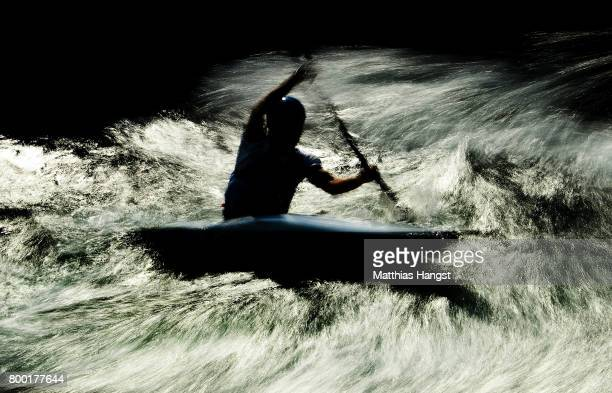 Thomas Koechlin of Switzerland competes during the Canoe Single Men's Qualification of the ICF Canoe Slalom World Cup on June 23 2017 in Augsburg...