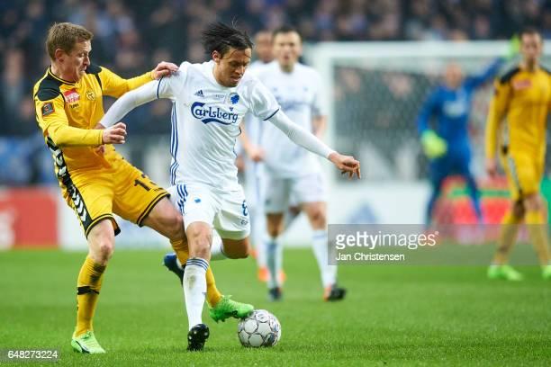 Thomas Kortegaard of AC Horsens and Uros Matic of FC Copenhagen compete for the ball during the Danish Alka Superliga match between FC Copenhagen and...