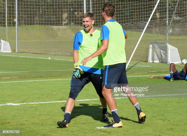 Thomas Kraft and Niklas Stark of Hertha BSC during a training session on August 9 2017 in Berlin Germany