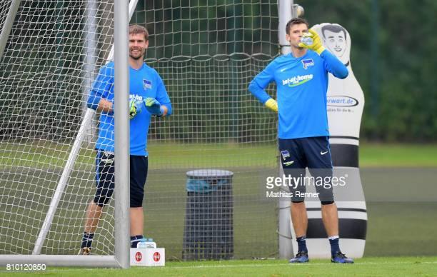 Thomas Kraft and Rune Almenning Jarstein of Hertha BSC during the training on july 7 2017 in Berlin Germany