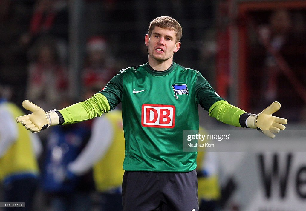 Thomas Kraft of Berlin gestures during the Second Bundesliga match between FC Energie Cottbus and Hertha BSC Berlin at Stadion der Freundschaft on December 3, 2012 in Cottbus, Germany.