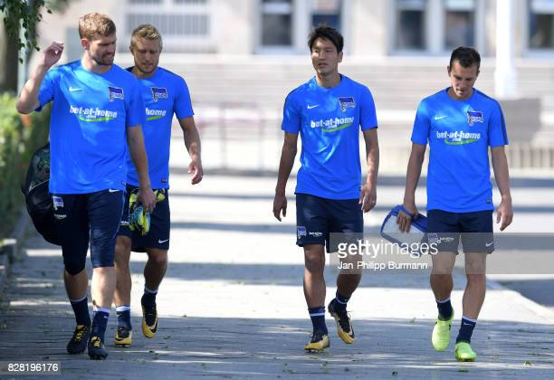 Thomas Kraft Per Skjelbred Genki Haraguchi and Vladimir Darida of Hertha BSC during the training on august 9 2017 in Berlin Germany