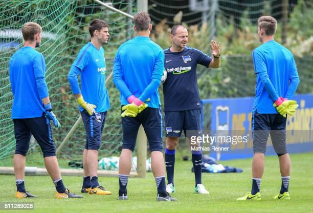 Thomas Kraft Rune Almenning Jarstein Dennis Smarsch goalkeepertrainer Zsolt Petry and Jonathan Klinsmann during the second day of the training camp...