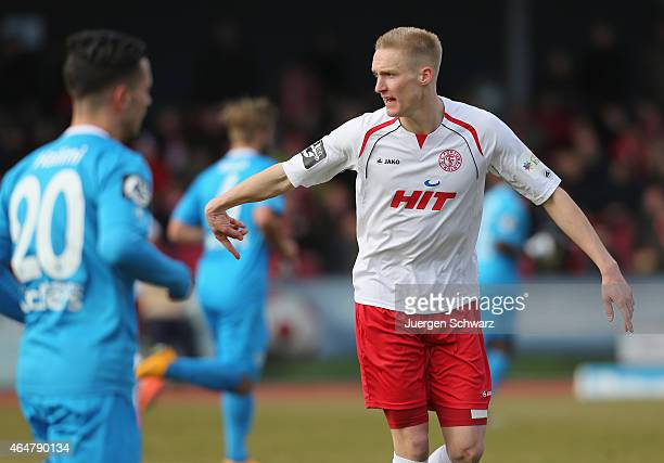 Thomas Kraus of Cologne gestures during the 3rd Bundesliga match between Fortuna Koeln and Stuttgarter Kickers at Suedstadion on February 28 2015 in...