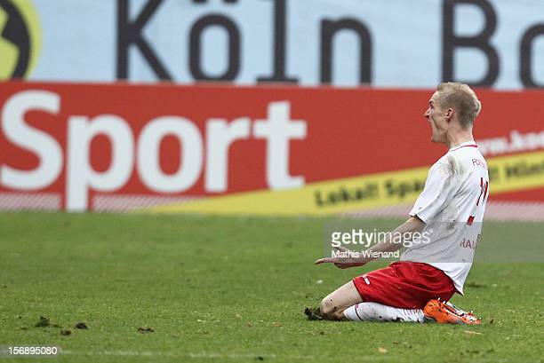 Thomas Kraus of Fortuna Koeln celebrates his goal during the match between Viktoria Koeln and Fortuna Koeln at Sportpark Hoehenberg on November 24...
