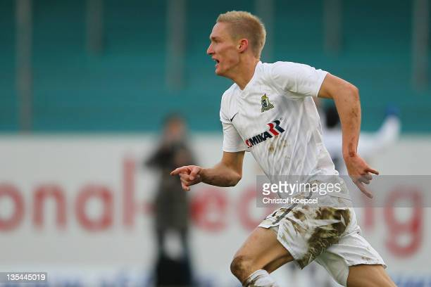 Thomas Kraus of Trier celebrates the first goal during the Regionalliga West match between Sportfreunde Lotte and Eintracht Trier at connectMArena on...