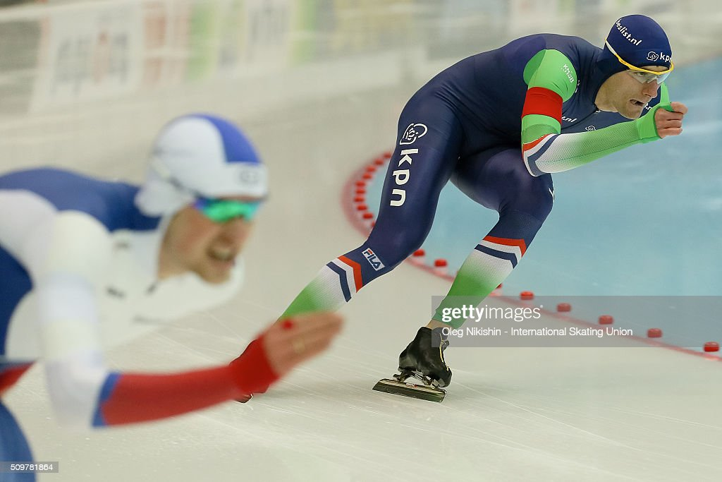 Thomas Krol of Netherlands compete in the Men 1500 meters race during day 2 of the ISU World Single Distances Speed Skating Championships held at Speed Skating Centre «Kolomna» Ice Arena on February 12, 2016 in Kolomna, Russia.