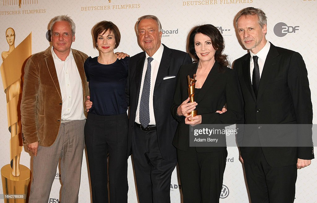 Thomas Kufus, member of the management board of the Deutsche Filmakademie, <a gi-track='captionPersonalityLinkClicked' href=/galleries/search?phrase=Christiane+Paul&family=editorial&specificpeople=220598 ng-click='$event.stopPropagation()'>Christiane Paul</a>, member of the management board of the Deutsche Filmakademie, <a gi-track='captionPersonalityLinkClicked' href=/galleries/search?phrase=Bernd+Neumann&family=editorial&specificpeople=598616 ng-click='$event.stopPropagation()'>Bernd Neumann</a>, state minister for culture and media, <a gi-track='captionPersonalityLinkClicked' href=/galleries/search?phrase=Iris+Berben&family=editorial&specificpeople=226774 ng-click='$event.stopPropagation()'>Iris Berben</a>, president of the German film academy, and Fred Kogel, artistic director of the Lola German Film Award gala, pose during a photo call for the nomination announcement for the 2013 Lola German Film Awards on March 22, 2013 in Berlin, Germany. The annual award is given by the Deutsche Filmakademie, and is the highest German movie award.