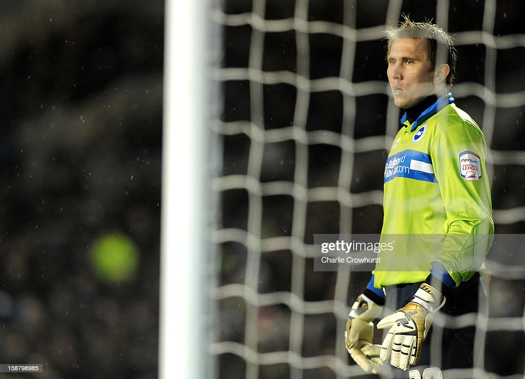 Thomas Kuszczak of Brighton & Hove Albion keeps an eye on the game during the npower Championship match between Brighton & Hove Albion and Watford at The Amex Stadium on December 29, 2012 in Brighton England.