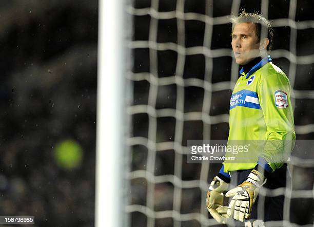 Thomas Kuszczak of Brighton Hove Albion keeps an eye on the game during the npower Championship match between Brighton Hove Albion and Watford at The...