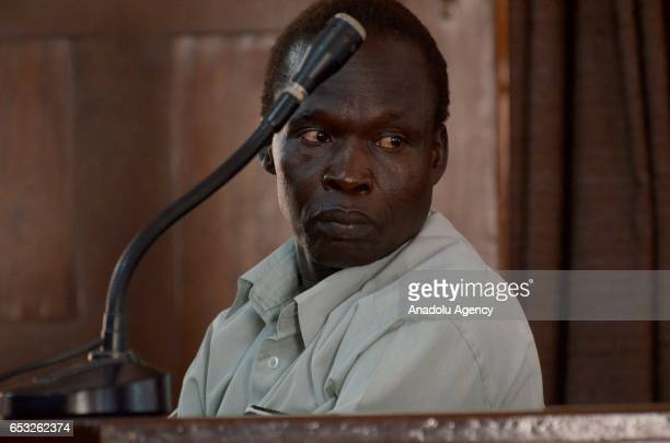 Thomas Kwoyelo a former member of Ugandan rebel group Lord's Resistance Army is seen during a trial at the International Crimes Division of the High...