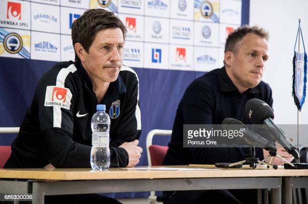 Thomas Lagerlöf coach of IK Sirius FK and Jakob Michelsen head coach of Hammarby IF meets the press after the Allsvenskan match between IK Sirius FK...