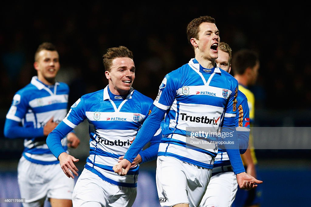 Thomas Lam of Zwolle celebrates scoring the first goal of the game during the Dutch Eredivisie match between SC Cambuur and PEC Zwolle at Cambuur...