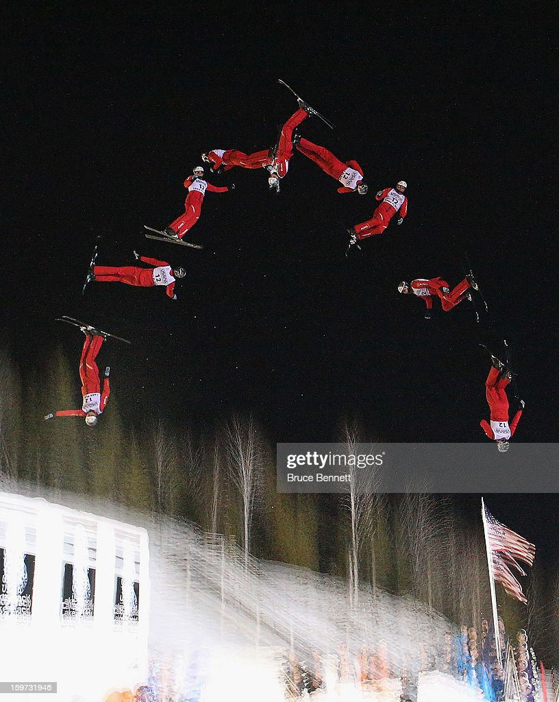Thomas Lambert #12 of Switzerland jumps in the qualification round of the USANA Freestyle World Cup aerial competition at the Lake Placid Olympic Jumping Complex on January 19, 2013 in Lake Placid, New York.