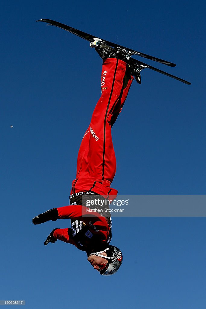 Thomas Lambert #12 of Switzerland jumps while training for the Mens Aerials during the Visa Freestyle International at Deer Valley on February 1, 2013 in Park City, Utah.