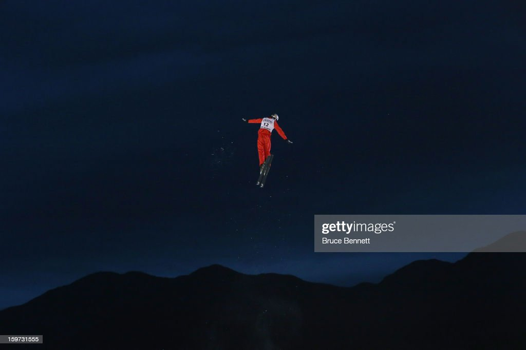 Thomas Lambert #12 of Switzerland takes a practice jump before the qualification round of the USANA Freestyle World Cup aerial competition at the Lake Placid Olympic Jumping Complex on January 19, 2013 in Lake Placid, New York.