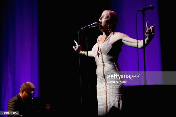 Thomas Lauderdale and Storm Large perform with Pink Martini at Sandler Center For The Performing Arts on May 25 2017 in Virginia Beach Virginia