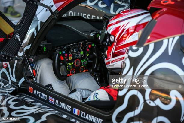 Thomas Laurent of the LMP2 Jackie Chan DC Racing ORECA 07Gibson waiting in the cockpit during the Le Mans 24 Hours race on June 17 2017 in Le Mans...