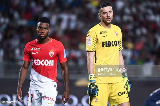 Thomas Lemar and Danijel Subasic of Monaco looks dejected during the Champions Trophy match between Monaco and Paris Saint Germain at Stade...