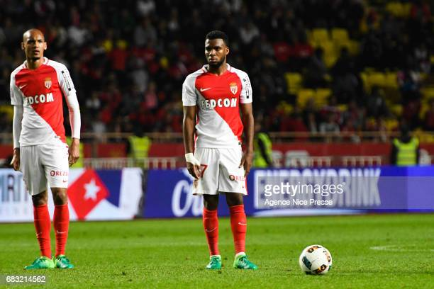Thomas Lemar and Fabinho of Monaco during the Ligue1 match between As Monaco and Lille OSC at Louis II Stadium on May 14 2017 in Monaco Monaco