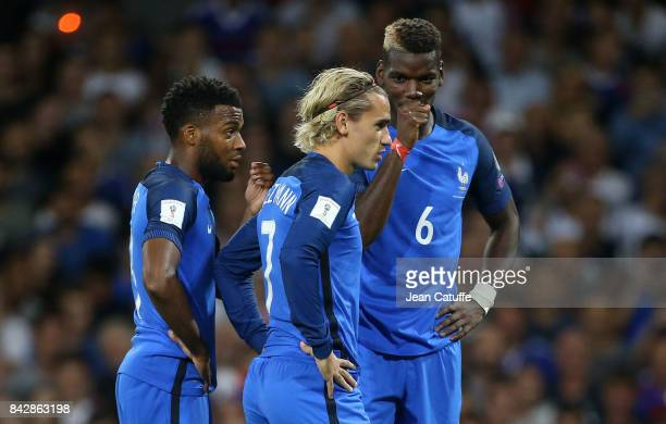 Thomas Lemar Antoine Griezmann Paul Pogba of France during the FIFA 2018 World Cup Qualifier between France and Luxembourg at the Stadium on...