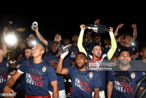 Thomas Lemar Danijel Subasic of Monaco and Radamel Falcao celebrate winning the Ligue 1 title during the Ligue 1 match between As Monaco and AS Saint...