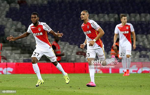 Thomas Lemar for Monaco celebrates his goal with his partner Layvin Kurzawa during the French Ligue 1 match between Toulouse FC and AS Monaco at...