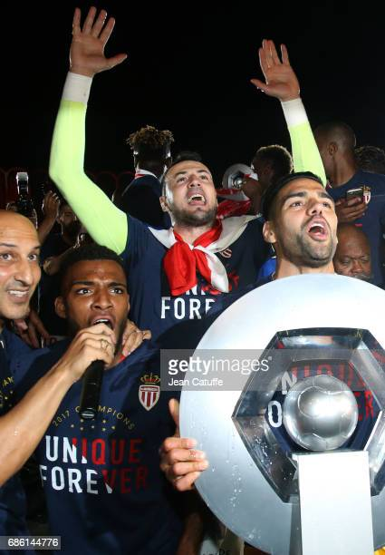 Thomas Lemar goalkeeper of Monaco Danijel Subasic Radamel Falcao of Monaco holding the trophy during the French League 1 Championship title...