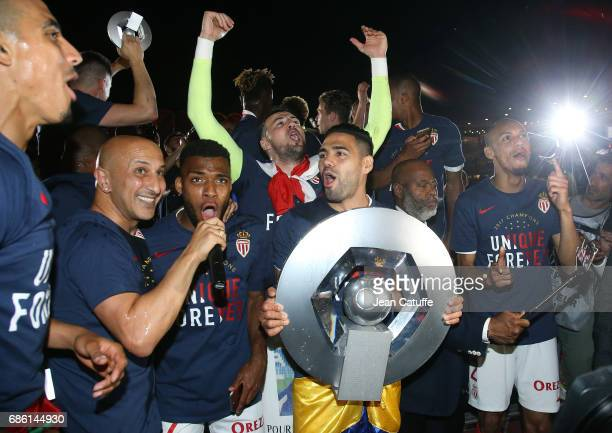 Thomas Lemar goalkeeper of Monaco Danijel Subasic Radamel Falcao of Monaco holding the trophy Fabio Henrique Tavares aka Fabinho during the French...