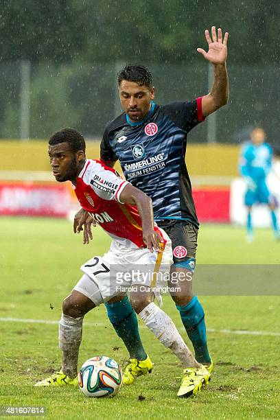 Thomas Lemar of AS Monaco and Gonzalo Jara of 1 FSV Mainz 05 in action during the preseason friendly match between 1 FSV Mainz 05 and AS Monaco at...