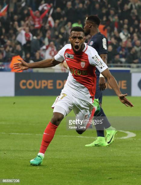 Thomas Lemar of AS Monaco celebrate his goal during the French League Cup Final match between Paris SaintGermain and AS Monaco at Parc Olympique on...