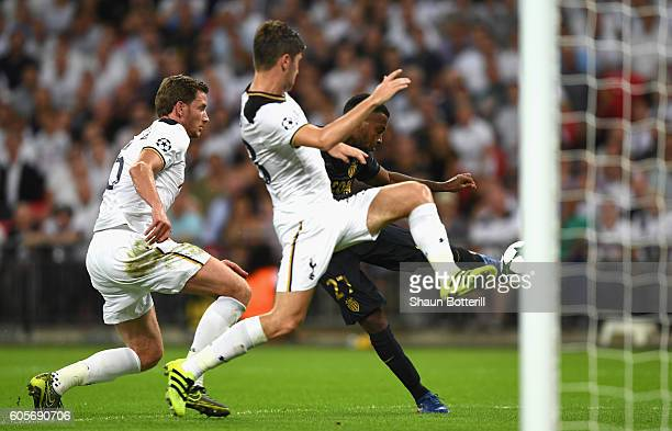 Thomas Lemar of AS Monaco scores his teams second during the UEFA Champions League match between Tottenham Hotspur FC and AS Monaco FC at Wembley...