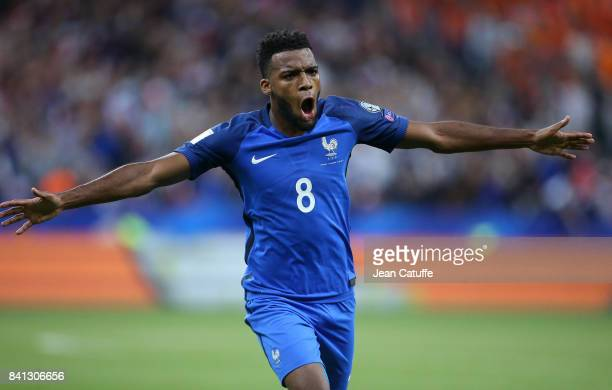 Thomas Lemar of France celebrates his goal during the FIFA 2018 World Cup Qualifier between France and the Netherlands at Stade de France on August...