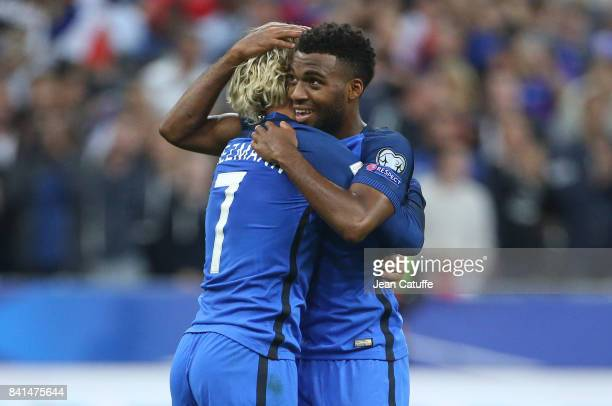 Thomas Lemar of France celebrates his second goal with Antoine Griezmann during the FIFA 2018 World Cup Qualifier between France and the Netherlands...