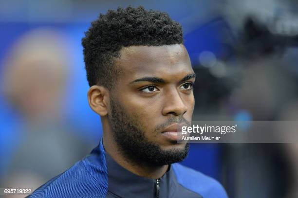 Thomas Lemar of France reacts during warmup before the International friendly match between France and England at Stade de France on June 13 2017 in...