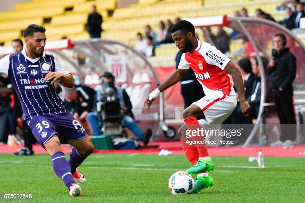 Thomas Lemar of Monaco and Andy Delort of Toulouse during the French Ligue 1 match between Monaco and Toulouse at Louis II Stadium on April 29 2017...