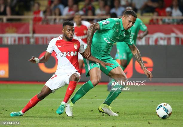 Thomas Lemar of Monaco and Leo Lacroix of SaintEtienne in action during the French Ligue 1 match between AS Monaco and AS SaintEtienne at Stade Louis...