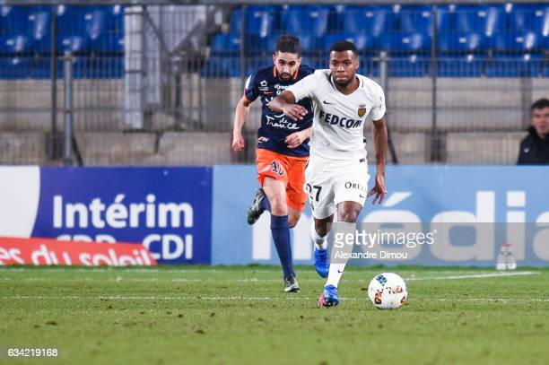 Thomas Lemar of Monaco and Ryad Boudebouz of Montpellier during the French Ligue 1 match between Montpellier and Monaco at Stade de la Mosson on...