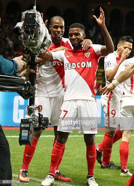 Thomas Lemar of Monaco celebrates his goal with Djibril Sidibe during the UEFA Champions League match between AS Monaco FC and Tottenham Hotspur FC...