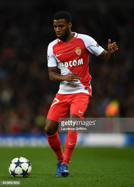 Thomas Lemar of Monaco in action during the UEFA Champions League Round of 16 first leg match between Manchester City FC and AS Monaco at Etihad...