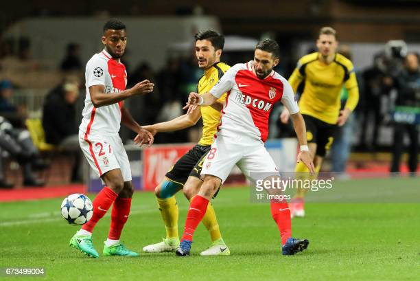 Thomas Lemar of Monaco Joao Moutinho of Monaco and Nuri Sahin of Dortmund battle for the ball during the UEFA Champions League quarter final second...