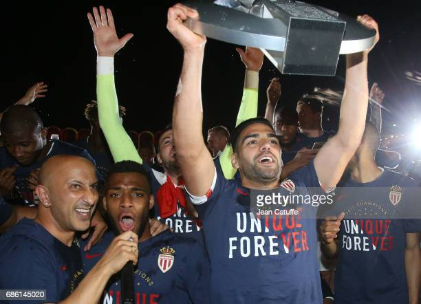 Thomas Lemar Radamel Falcao of Monaco holding the trophy during the French League 1 Championship title celebration following the French Ligue 1 match...