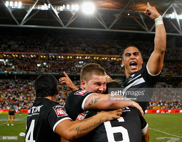Thomas Leuluai of the Kiwis celebrates after winning the 2008 Rugby League World Cup Final match between the Australian Kangaroos and the New Zealand...