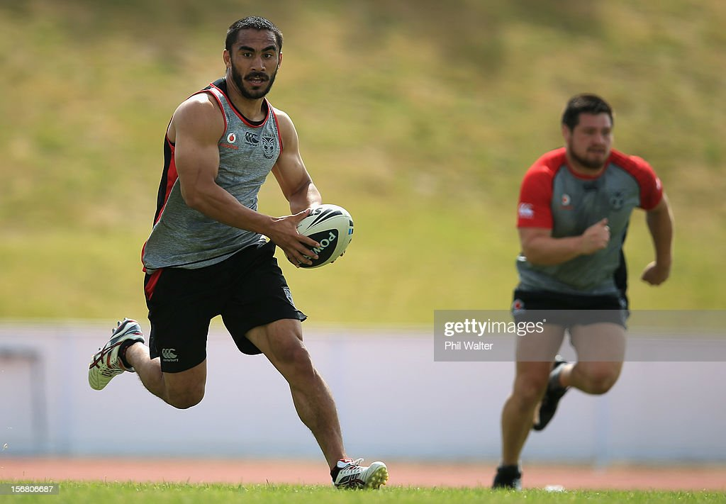 Thomas Leuluai of the Warriors runs the ball during a New Zealand Warriors NRL pre-season training session at the Millenium Institute on November 22, 2012 in Auckland, New Zealand.