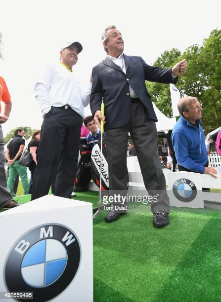 Thomas Levet of France and Tony Jacklin talk during the launch of the Mega Putt Challenge ahead of the BMW PGA Championship at Wentworth on May 21...