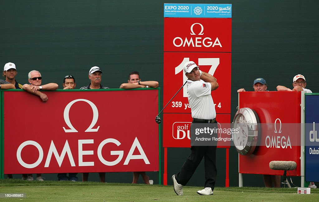 Thomas Levet of France in action during the second round of the Omega Dubai Desert Classic at Emirates Golf Club on February 1, 2013 in Dubai, United Arab Emirates.