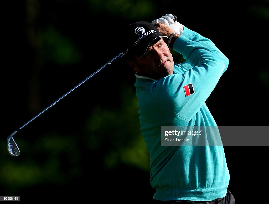 <a gi-track='captionPersonalityLinkClicked' href=/galleries/search?phrase=Thomas+Levet&family=editorial&specificpeople=203326 ng-click='$event.stopPropagation()'>Thomas Levet</a> of France plays his tee shot on the 12th hole during the first round of the BMW Italian Open at Royal Park I Roveri on May 6, 2010 in Turin, Italy.