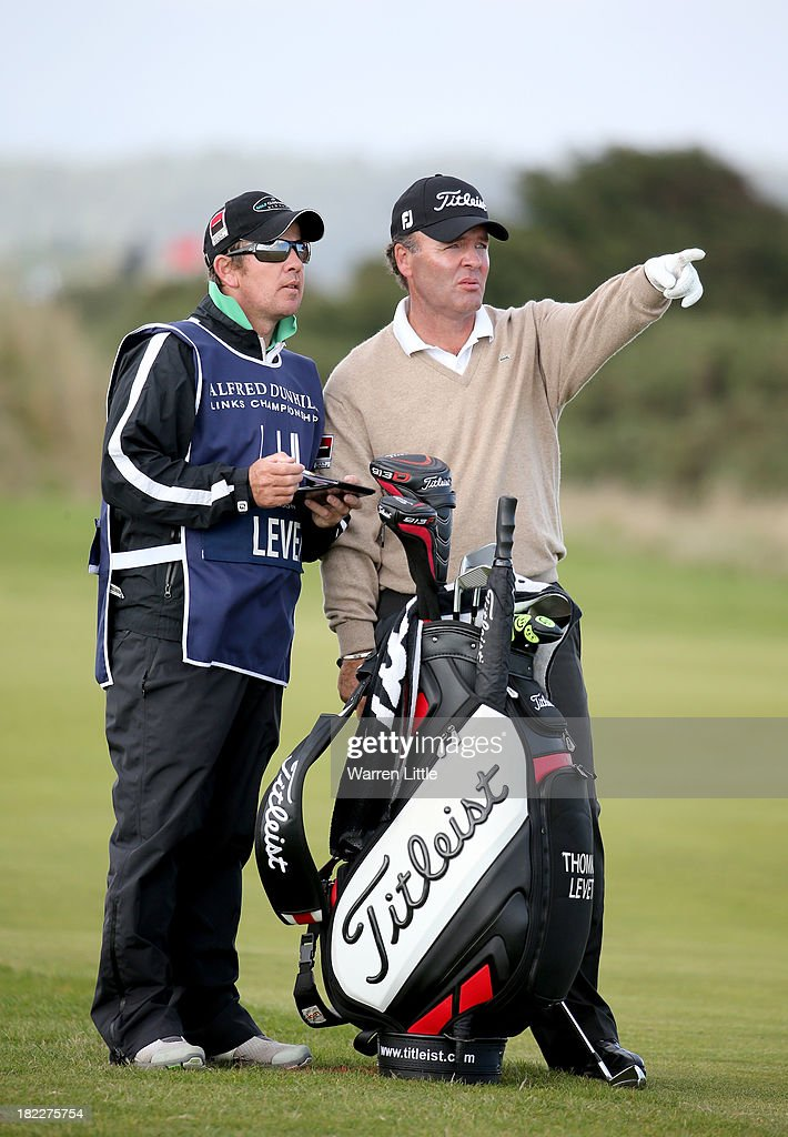 Thomas Levet of France with his caddy on the 14th hole during the final round of the Alfred Dunhill Links Championship on The Old Course, at St Andrews on September 29, 2013 in St Andrews, Scotland.